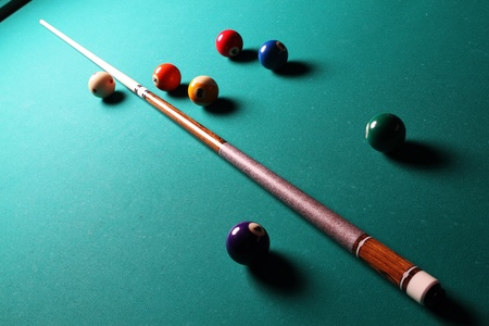 Billiard table with balls  Close-up  Narrow depth of field  photo