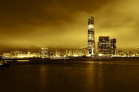 Skyscrapers on the shore of Aberdeen Harbour  Hong Kong  China  No logo  Yellow tint  photo