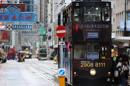 doubledecker: HONG KONG - JULY 16: Double-decker tram on the street of Hong Kong. Hong Kong, China - July 16, 2011.