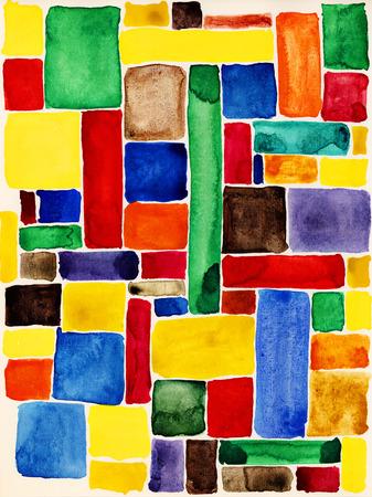 カラフルな四角形。水彩テクスチャです。 写真素材