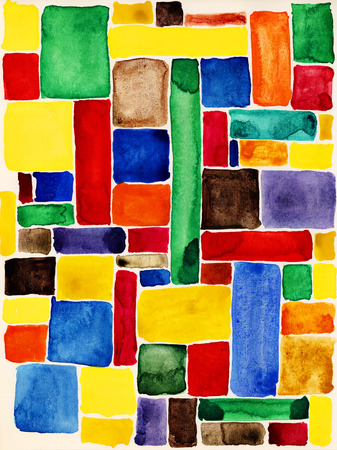Colorful rectangles. Watercolor texture. Stock Photo