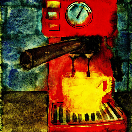 Coffee machine making hot espresso  Watercolor illustration  illustration
