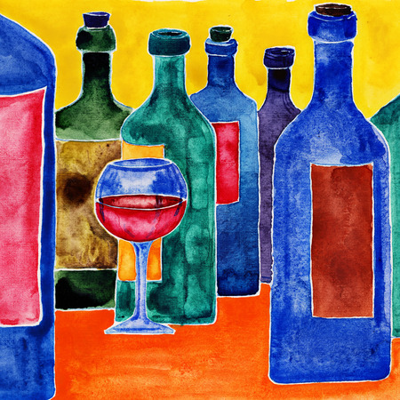 Glass of wine among wine bottles. Watercolor illustration.