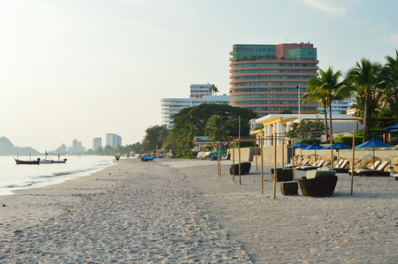 hua hin: HUA HIN, THAILAND - DECEMBER 12: Hua Hin white sand beach at morning. Hua Hin, Thailand - December 12, 2012.