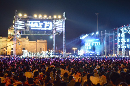 BANGKOK - DECEMBER 10: Big Thai Fight event on the square in downtown of Bangkok. Bangkok, Thailand - December 10, 2012.