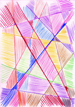 Colored lines on paper. Pencil drawing. photo