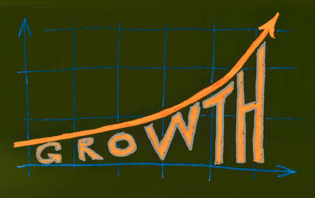 text marker: Growth chart with text. Marker drawing.