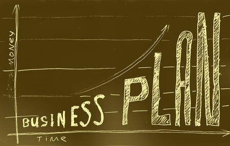 felt: Business plan. Hand drawn with felt pen on aged paper.