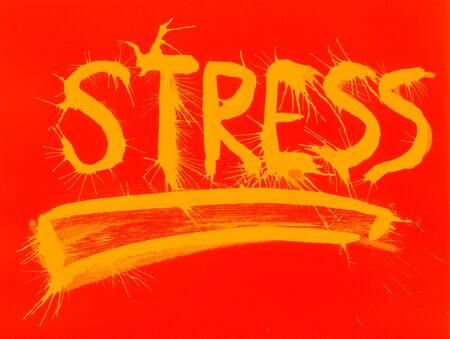 indian ink: Stress  Handmade poster made with paintbrush and indian ink
