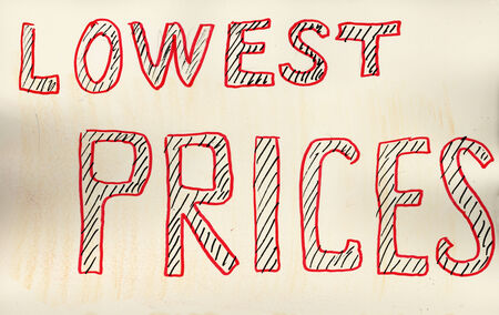 lowest: Lowest prices. Hand drawn with felt pen on aged paper. Stock Photo