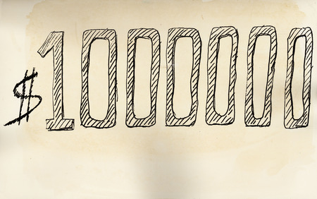 1 million dollars. Hand drawn with felt pen on aged paper.