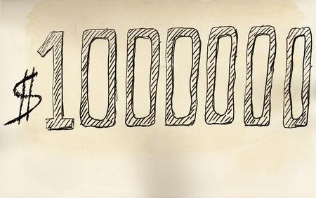 100 万ドル。高齢者紙にフェルト ペンで手書き。 写真素材