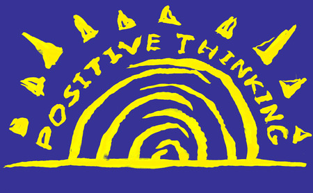 indian ink: Handmade sign - POSITIVE THINKING. Indian ink on paper. Stock Photo