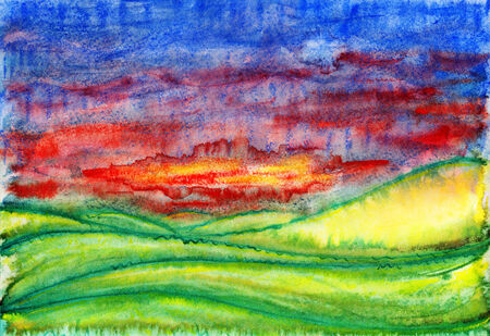 Landscape. Abstract watercolor painting on paper. photo