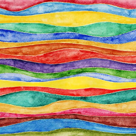 Waves. Painted with watercolor paints on paper. photo