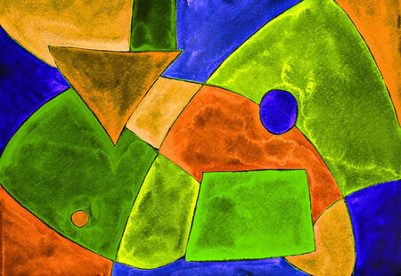 Geometric abstraction. Watercolor painting on paper. photo