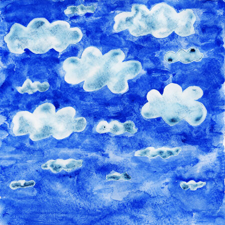 dabs: Clouds in the sky symbolize cloud computing. Watercolor illustration.