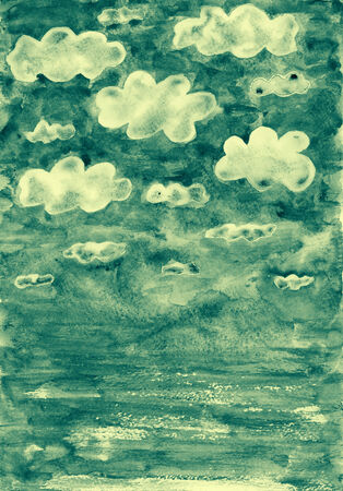 Clouds in the sky symbolize cloud computing. Watercolor illustration. illustration