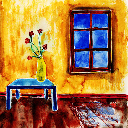 dabs: Bouquet of flowers. Watercolor painting on paper.