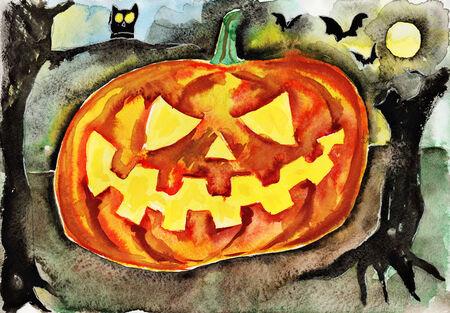 helloween: Helloween pumpkin. Watercolor illustration on paper.