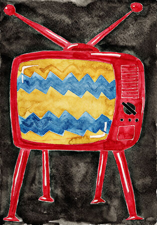 Old tv. Watercolor painting on white paper. photo