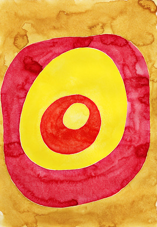 dabs: Colorful circles. Watercolor painting on white paper.