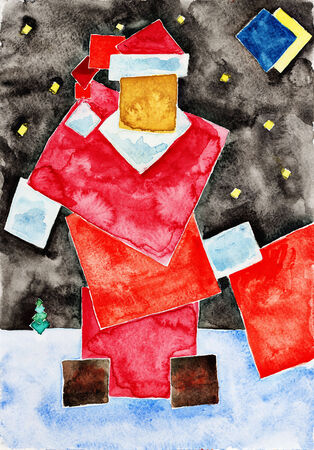 Santa. Watercolor painting on white paper. photo