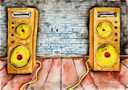 Big acoustic system. Watercolor painting on paper. photo