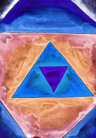 dabs: Colorful triangles. Watercolor painting on white paper.