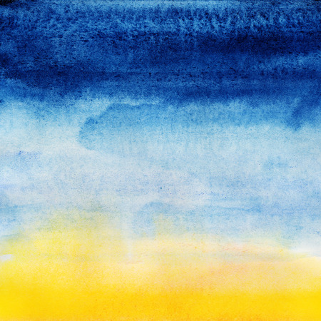 Abstract seascape. Watercolor painting on white paper. photo