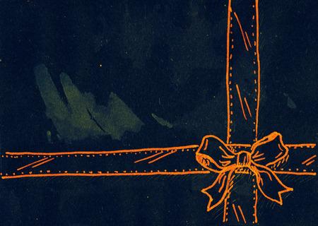 mixed: Ribbon bow. Mixed media artwork.