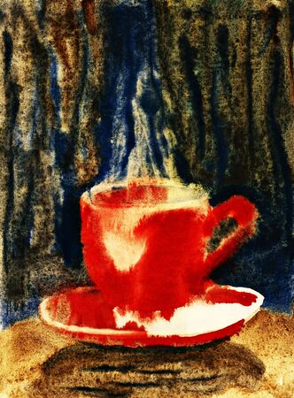 red cup: Red cup of hot coffee. Watercolor illustration.