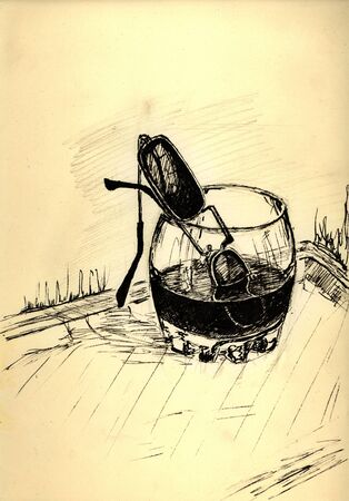 brandy: Sunglasses in the glass of brandy. Pen-and-ink drawing on the paper. Illustration. Stock Photo