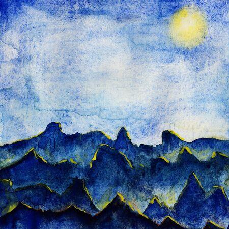 Beautiful landscape of blue hills under blue skies. Watercolor illustration.