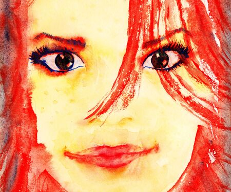 aquarelle painting art: Beautiful girl portrait. Watercolor illustration. Stock Photo