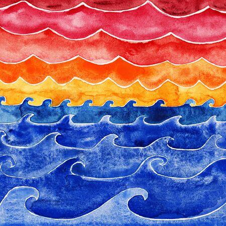vista: Ocean waves under big clouds. Watercolor illustration.