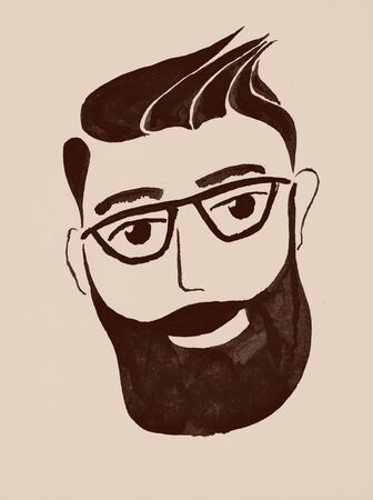 indian ink: Man with a beard. Indian ink illustration.