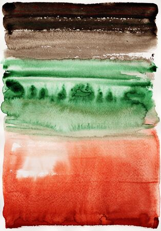 Abstract landscape. Hand drawn watercolor background. 스톡 콘텐츠
