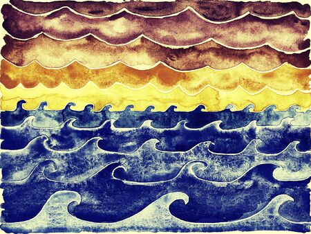big waves: Ocean waves under big clouds. Watercolor illustration.