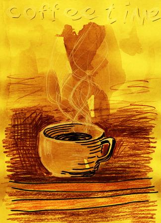 コーヒー タイム。ミクスト メディア作品。手描き。グランジ スタイル。