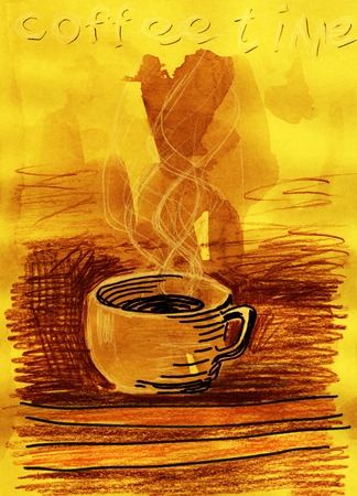 Coffee time. Mixed media artwork. Hand drawn. Grunge style.