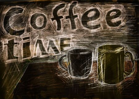 mixed media: Coffee time. Mixed media artwork. Hand drawn. Grunge style.