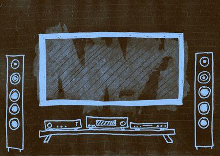 mixed media: Home cinema. Mixed media artwork. Hand drawn. Grunge style.