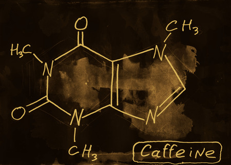 caffeine: Caffeine. Mixed media artwork. Hand drawn. Grunge style.