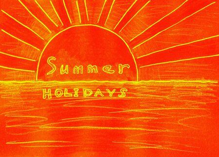 mixed media: Summer holidays. Mixed media artwork. Handmade. Stock Photo