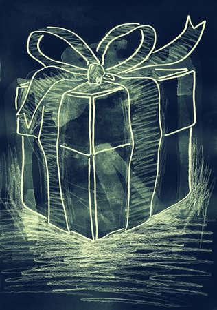 mixed media: Gift box. Mixed media artwork. Handmade. Stock Photo