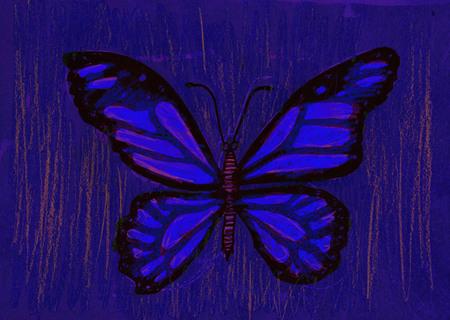 butterfly stroke: Beautiful butterfly. Mixed media artwork. Handmade.