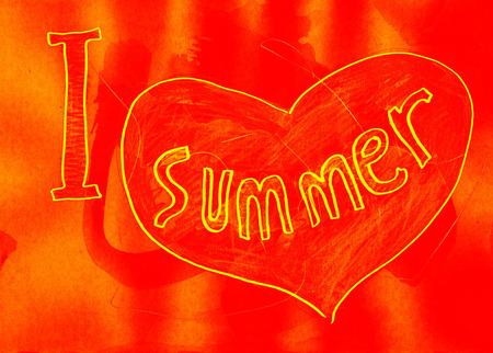 mixed media: I love summer. Mixed media artwork. Handmade. Stock Photo