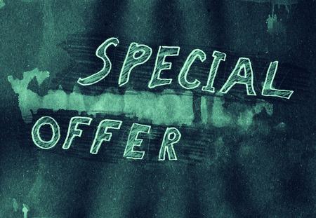 mixed media: Special offer. Mixed media artwork. Handmade. Stock Photo