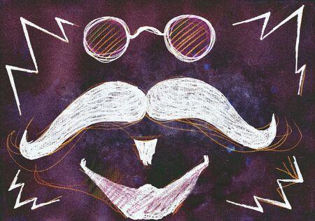 mixed media: Moustache. Mixed media artwork. Handmade.